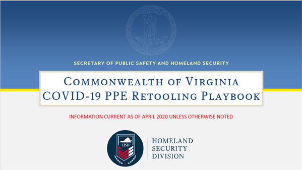 Commonwealth of Virginia, Covid-19 PPE Re-Tooling Playbook